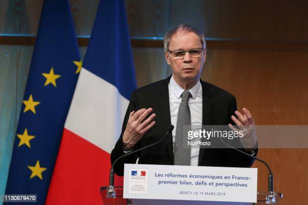 Economics Nobel Prize laureate Jean Tirole talks during a seminar on the theme « Economic reforms in France first assessment challenges and prospects...