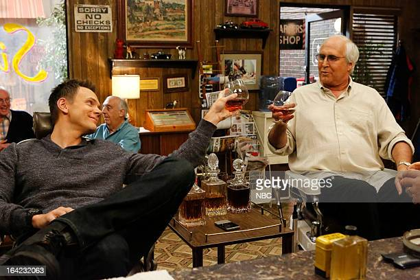 COMMUNITY 'Economics Of Marine Biology' Episode 406 Pictured Joel McHale as Jeff Winger Chevy Chase as Pierce