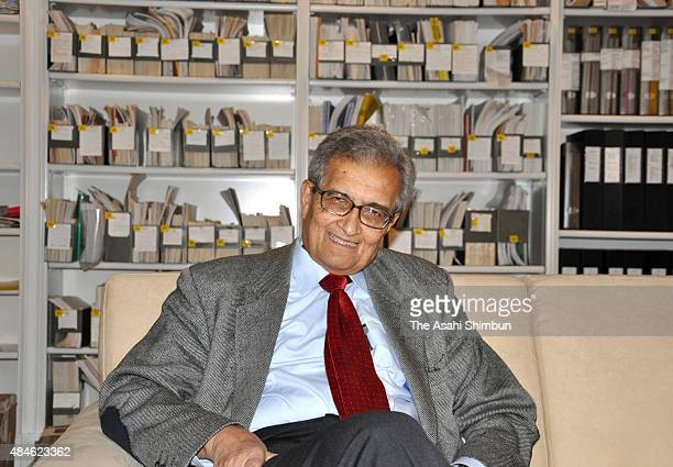 Economist Amartya Sen poses for photographs during the Asahi Shimbun interview on February 10 2009 in Cambridge England
