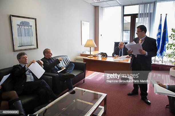 Economist and Finance Minister for the Greek government Yanis Varoufakis is photographed for Paris Match at the European Parliament in Brussels He is...