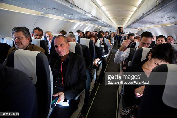 Economist and Finance Minister for the Greek government Yanis Varoufakis is photographed for Paris Match whilst flying in Economy class to Brussels...