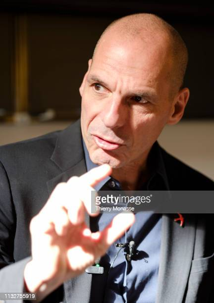 Economist and Greek politician Yanis Varoufakis talks during a conference on the upcoming European elections in May 2019 on March 25 2019 in Brussels...