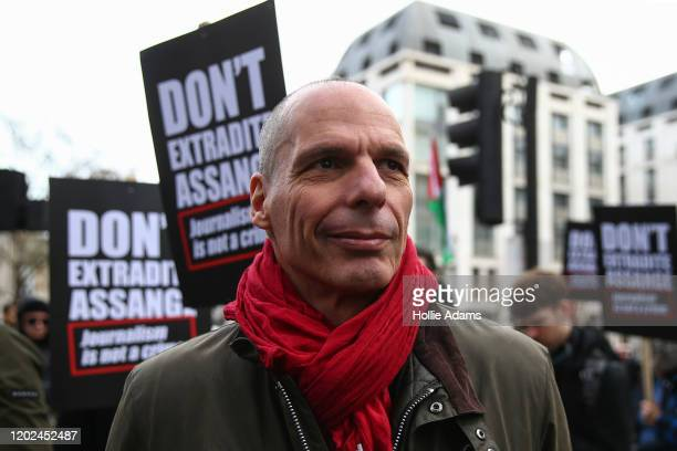 Economist and supporter of Julian Assange Yanis Varoufakis attends a demonstration outside Australia House on February 22 2020 in London England...