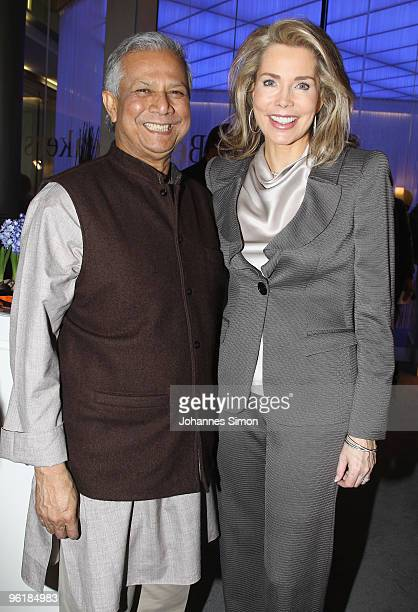 Economist Muhammad Yunus and Gabriele Princess Inaara The Begum Aga Khan attend the Digital Life Design conference at HVB Forum on January 26 2010 in...