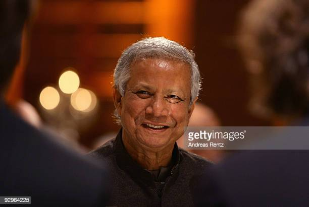 Economist Muhammad Yunus attends the gala dinner BELSTAFF FOR PEACE to the 10th World Summit of Nobel Peace Laureates at the German Historical Museum...