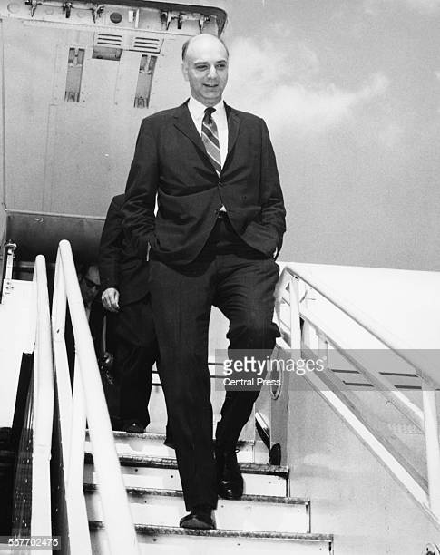 Economist Paul Volcker US Treasury UnderSecretary for Monetary Affairs arriving in Britain for talks on the Dollar Crisis Heathrow Airport London...