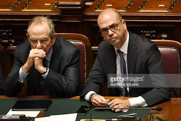 Economy and Finance Minister Pier Carlo Padoan and Foreign Affairs Minister Angelino Alfano are pictured before a confidence vote to the new...