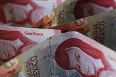 mexican banknotes pesos unorganized