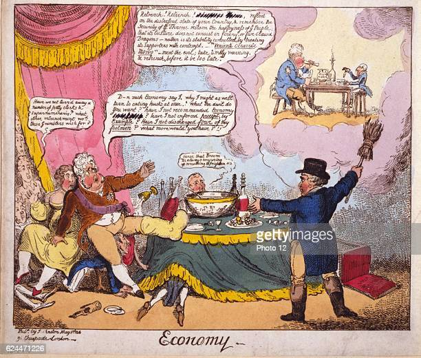 Economy by George Cruikshank 17921878 artist Published London 1816 Print etching handcoloured Brougham in the guise of John Bull appears to the...