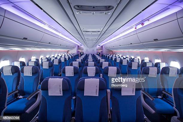 Economy class seats are seen on an Airbus Group SE A350 XWB jet during a media tour at Newark Liberty Airport in Newark New Jersey US on Thursday...