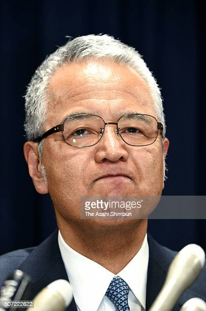 Economy minister Akira Amari announces his resignation at a news conference on January 28, 2016 in Tokyo, Japan. Amari announced his resignation to...