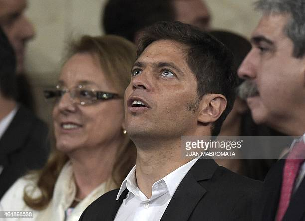 Economy Minister Axel Kicillof Social Develope Minister Alicia Kirchner and chief cabinet Anibal Fernandez are seen before Argentine President...