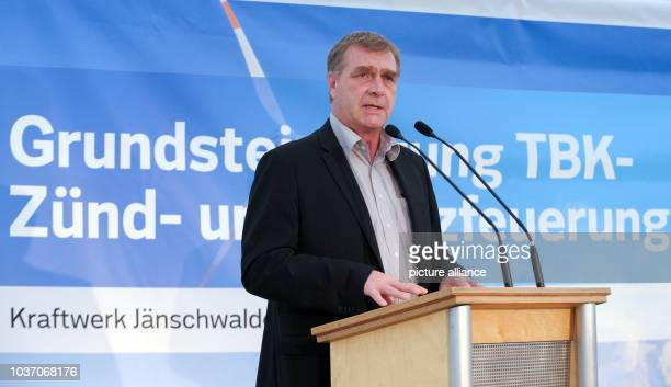 Economy Minister of Brandenburg Ralf Christoffers speaks at a press conference at the Jaenschwalde power plant, where the foundation stone was laid...