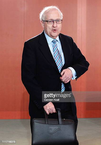 Economy Minister Rainer Bruederle arrives for the weekly German government cabinet meeting on April 6 2011 in Berlin Germany The day before the FDP...