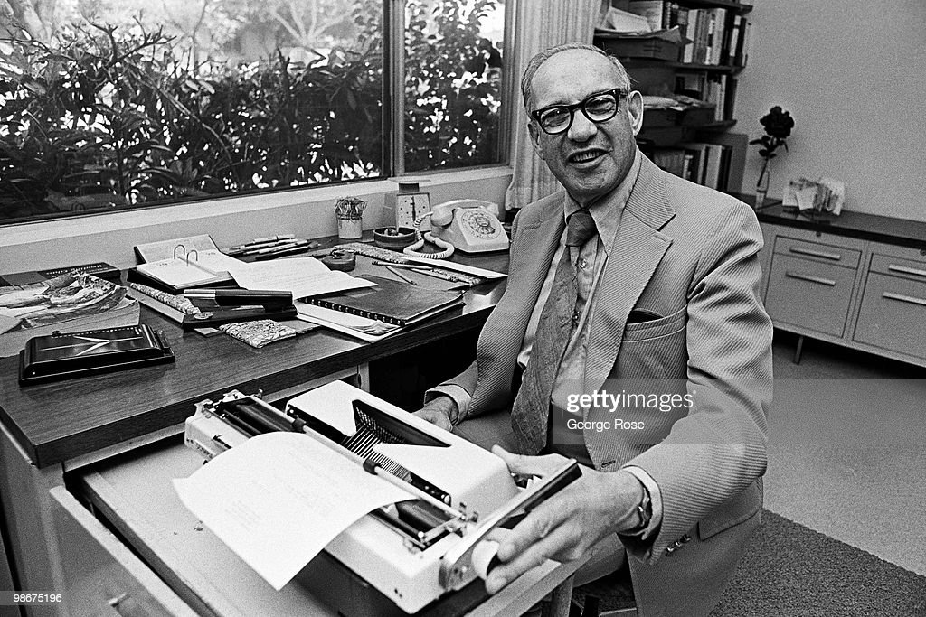 Economy Professor Peter Drucker, a Presidential Medal of Freedom winner, poses at his desk in this 1975 Claremont, California, photo taken in his office.