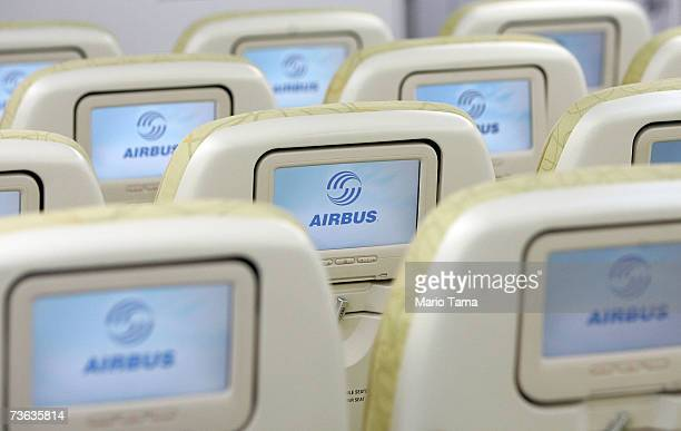 Economy seats are seen in the new Airbus A380 a doubledecker plane flown by Lufthansa after it arrived at JFK International Airport following its...