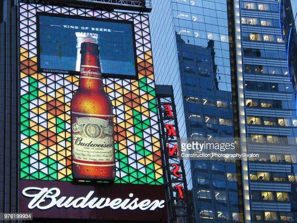 Billboard at Times Square in Manhattan, New York City, BUDWEISER is a trademark of ANHEUSER-BUSCH brewery company.