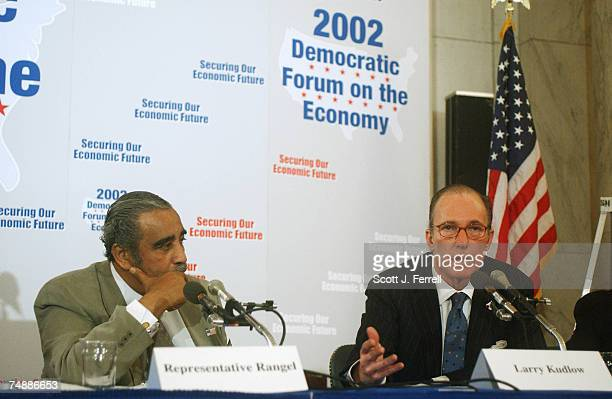 ECONOMYHouse Ways Means ranking Democrat Charles B Rangel DNY and Larry Kudlow of CNBC during the forum