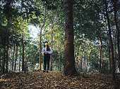 ecotourism concept from woman trekking with