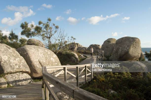 ecotourism for the footpath pedras negras to con negro ( o grove - spain) - grove stock photos and pictures