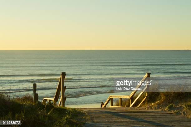 ecotourism in beach of lanzada ( o grove - spain) - grove fotografías e imágenes de stock