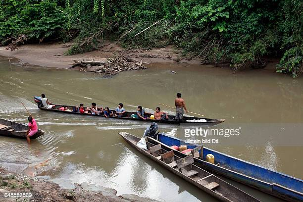 Ecotourism with native Huaorani nation at Yasuni National Park. Amazon, Ecuador