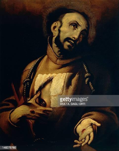 Ecstasy of St Francis the 17th century artist of the Lombard school oil on canvas 85x64 cm Pavia Musei Civici Del Castello Visconteo Pinacoteca...