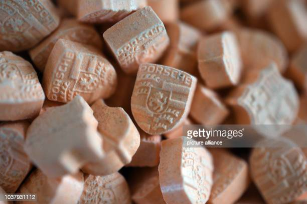 Ecstasy pills on a plate at a press conference in Cologne Germany 20 December 2016 After several discoveries of large amounds of ecstasy between July...