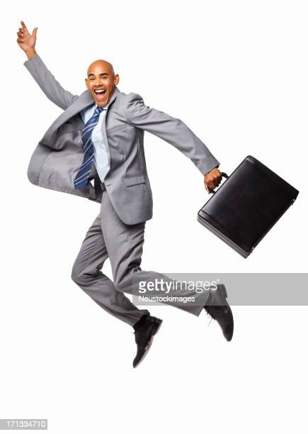 Ecstatic Businessman With Briefcase - Isolated