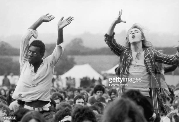 Ecstatic fans give in to the music at the Isle of Wight festival, 1st September 1969.