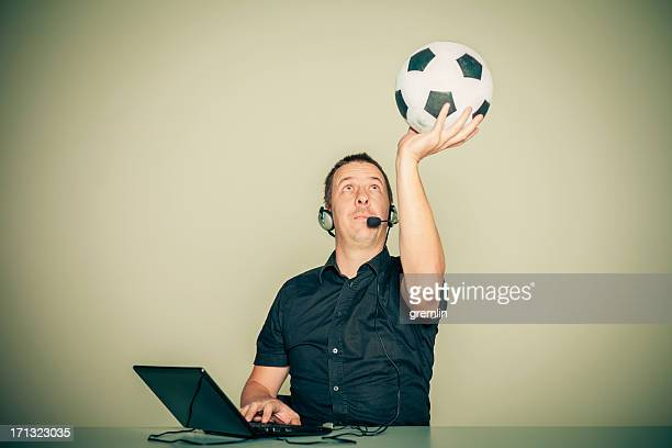 ecstatic football commentator - commentator stock pictures, royalty-free photos & images