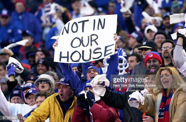 Ecstatic Giants fans leave no doubt about their feelings during National Football Conference Division Playoff game against the Philadelphia Eagles at...