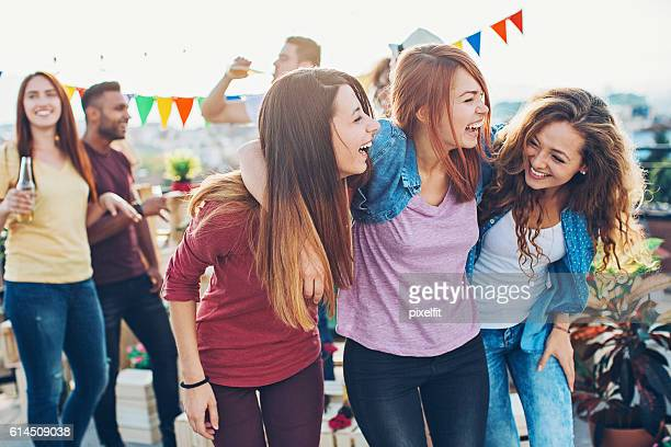 Ecstatic girls on a party