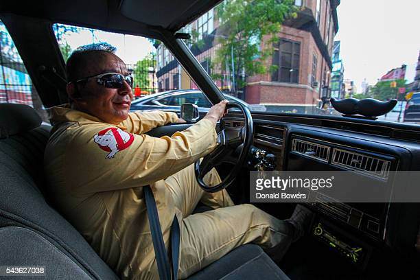 Ecto1 being driven through the streets of SoHo during Lyft Ghost Mode In Partnership With Sony And Ghostbusters on June 29 2016 in New York City