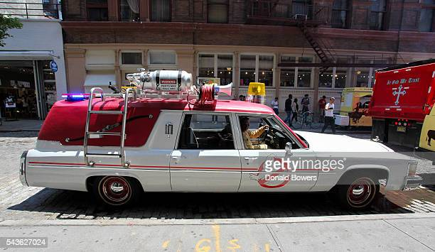 Ecto1 parked on the street during Lyft Ghost Mode In Partnership With Sony And Ghostbusters on June 29 2016 in New York City