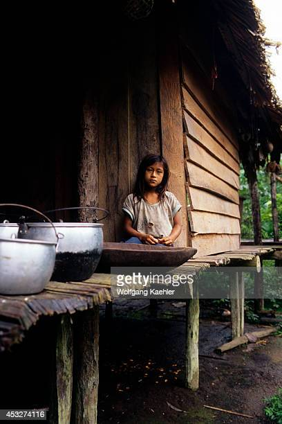 Ecuador Amazon Rainforest Rio Napo Near Coca House On Stilts Local Indian Girl