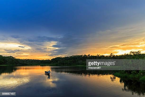 ecuador, amazon river region, dugout canoe on lake pilchicocha at sunset - ecuador fotografías e imágenes de stock