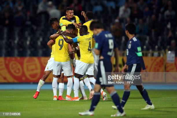 Ecuador celebrate Japan's own goal during the 2019 FIFA U-20 World Cup group B match between Japan and Ecuador at Bydgoszcz Stadium on May 23, 2019...