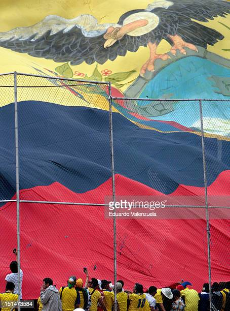 Ecuador fans up a giant flag before a match between Ecuador and Bolivia as part of the South American Qualifiers for the FIFA Brazil 2014 World Cup...