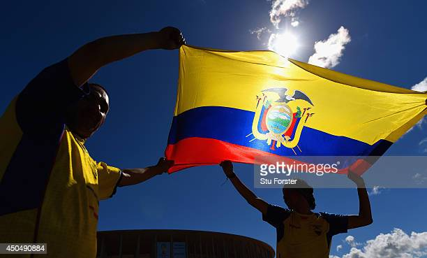 Ecuador fans wave their flag outside of the National Stadium ahead of their opening game of the 2014 FIFA World Cup against Switzerland on sunday on...