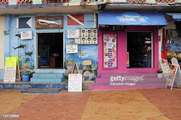 Ecuador Galapagos Islands Puerto Ayora Shops Signs