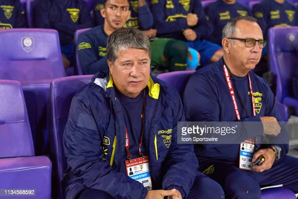 Ecuador head coach Hernan Dario Gomez looks on in game action during an International friendly match between the United States and the Ecuador men's...