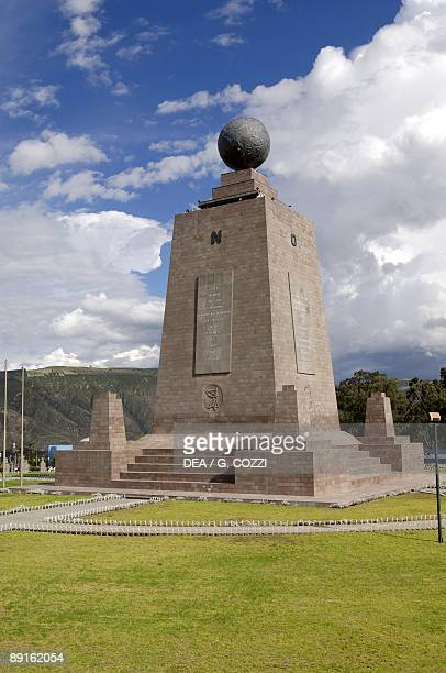 Ecuador Pichincha Province Quito UNESCO World Heritage List 1978 'Mitad del Mundo' the monolith that marks the Equator