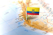 Ecuador pinned on the map with flag