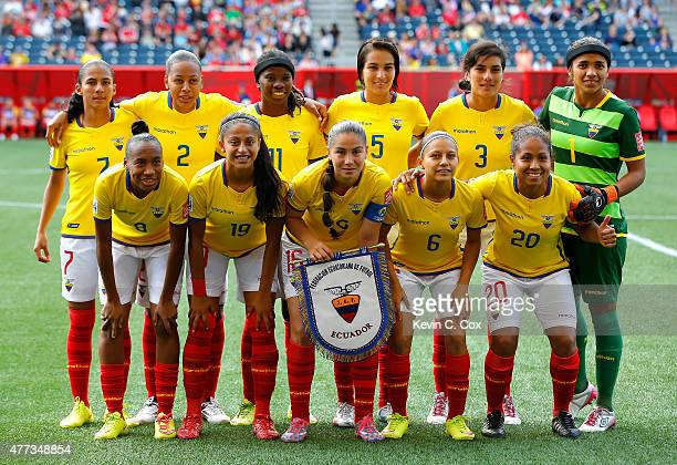 Ecuador poses for a team photo prior to the FIFA Women's World Cup Canada 2015 Group C match between Ecuador and Japan at Winnipeg Stadium on June 16...