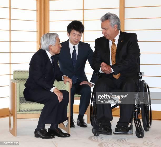 Ecuador President Lenin Moreno and Emperor Akihito talk during their meeting at the Imperial Palace on September 5 2018 in Tokyo Japan