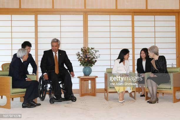 Ecuador President Lenin Moreno and his wife Rocio Gonzalez Navas talk with Emperor Akihito and Empress Michiko during their meeting at the Imperial...