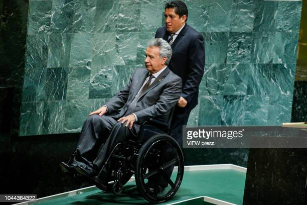 Ecuador president Lenin Moreno Garces attends the 73rd session of the United Nations General Assembly at UN headquarters on September 25 2018 in...