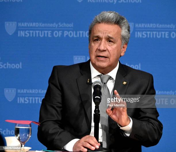 Ecuador President Lenin Moreno gives a talk at Harvard University John F Kennedy Institute of Politics titled 'All Hands on Deck Joining Public and...