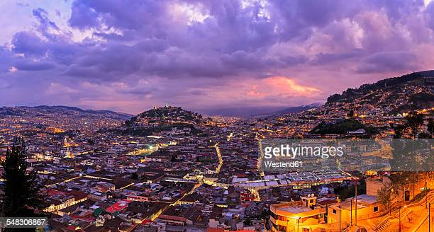 ecuador, quito, cityscape with el panecillo at sunset - ecuador stock pictures, royalty-free photos & images